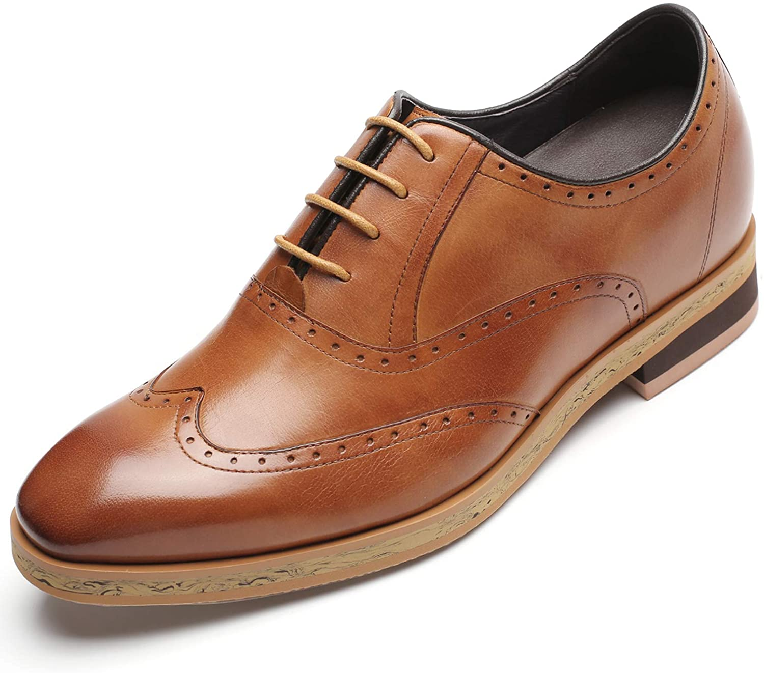 CHAMARIPA Men's Height Increasing Elevator Shoes Leather Dress Shoes Invisible Elevated Oxfords 2.76 Inches Taller H91241H051D