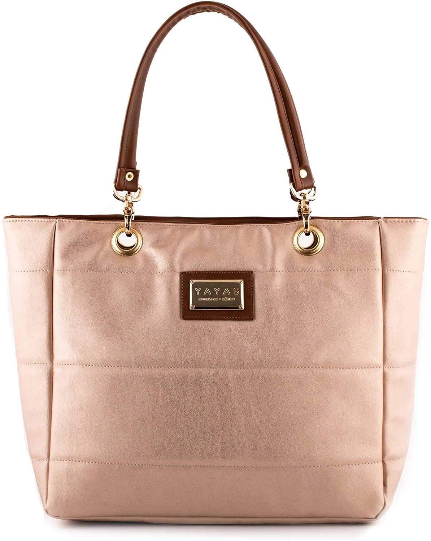 YAYAS Austin Microfiber Tote + Cosmetic Bag - Top Handle Satchel Handbag - Lightweight Bag