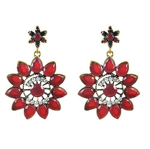 Fashion Ladies Must-have Flowers Bohemian Geometric Earrings Female (Deep red)