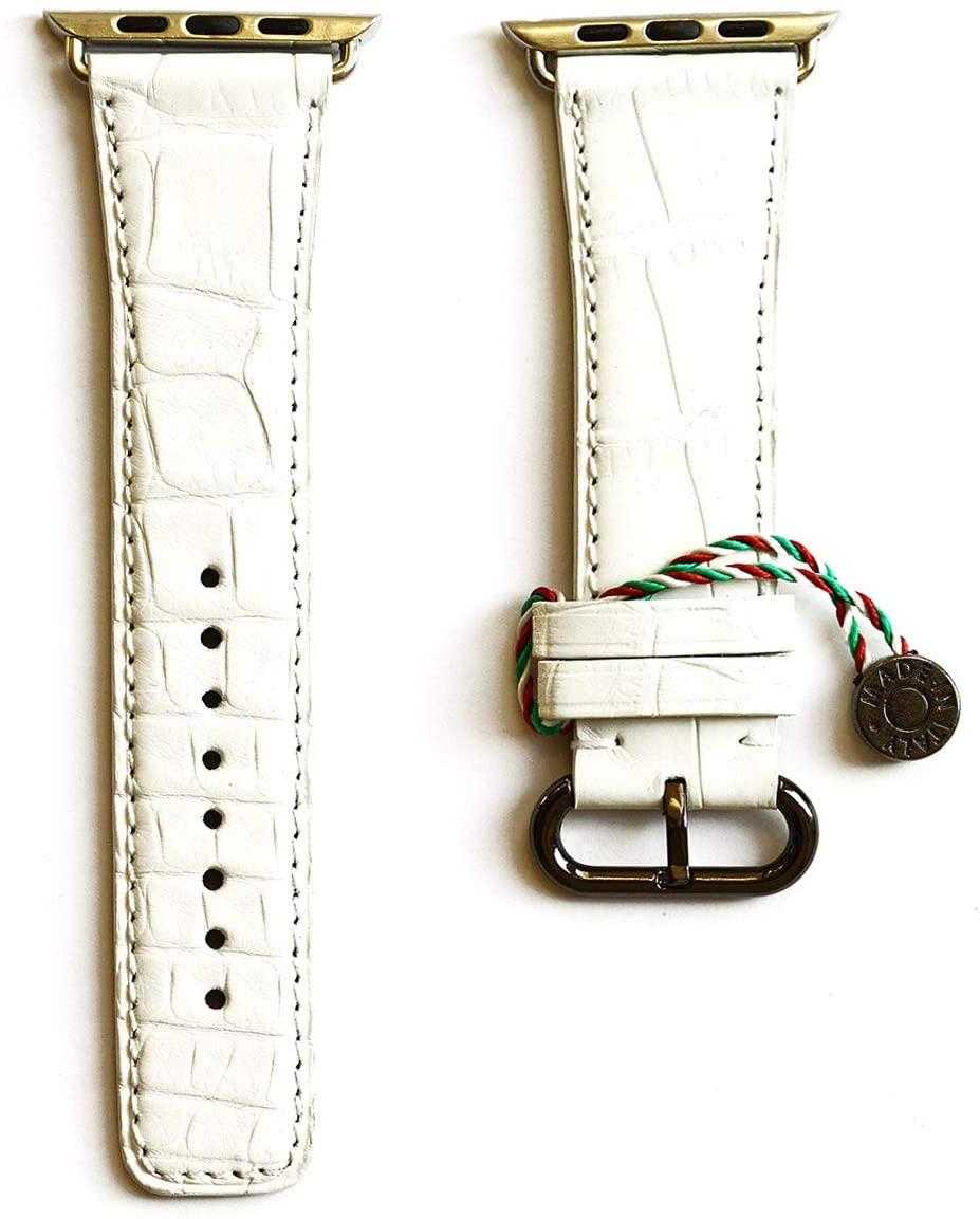 Visconti Milano White Matte Alligator Strap for 44mm, 42mm CASE (Apple Watch All Series)