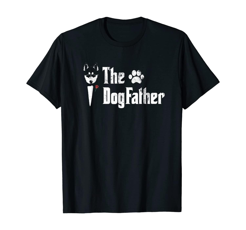 Mens The Dogfather Siberian Husky Dog Dad Tshirt Father's Day Gi