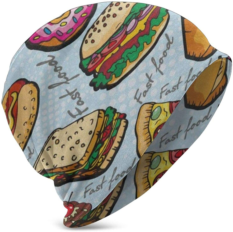 N\ A Funny Pizza Cartoon Food Beanie Winter Hats for Kids Skull Cap Knit Fashion Hat Girls Boys