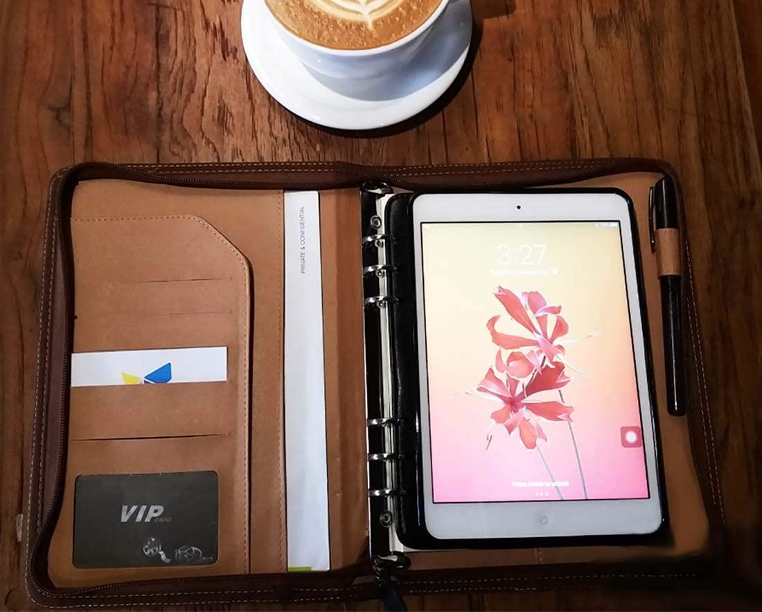 Passion Port Portfolio Zipper Protective Case Compatible with iPad Mini 1/2/3/4 Notepad Business Travel PU Leather Beige
