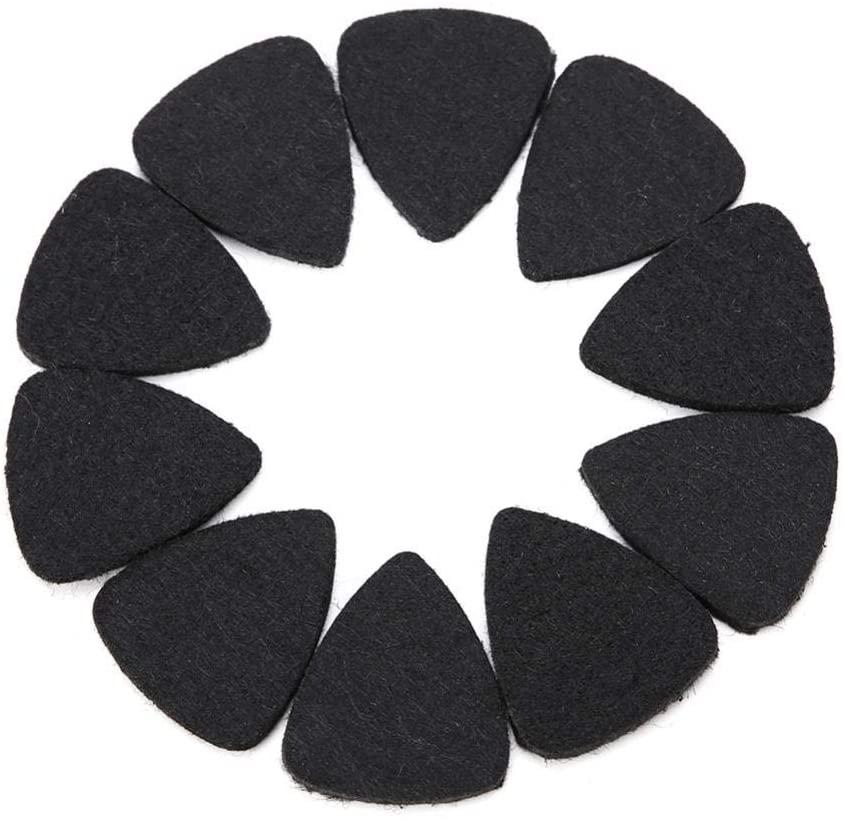 Vbestlife 10 Pieces Guitar Picks Felt Picks Ukulele Picks, Wool Felt Picks Plectrums 3mm for Guitar Ukulele, Black White Grey