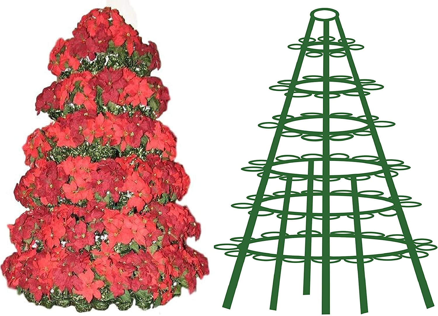 Creative Displays Full Round Poinsettia Tree Rack Display 106FB - Freestanding Vertical Garden Frame | Great for Poinsettias, Flowers, Potted Plants, Succulents, and More (6.5 Ft)