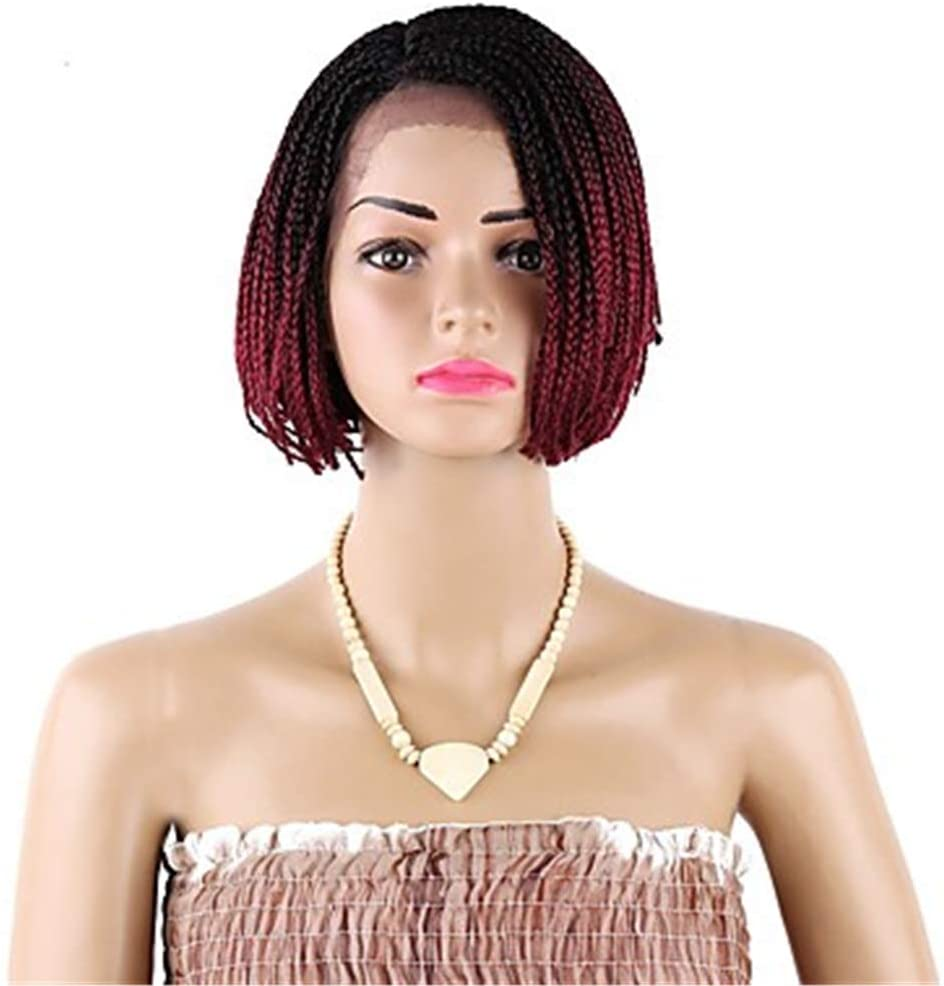 Braids Synthetic Lace Front Wig Braids Style Short Wig Blonde Black#1B Blonde Black Burgundy Synthetic Hair 12 Inch Women's Blonde,C