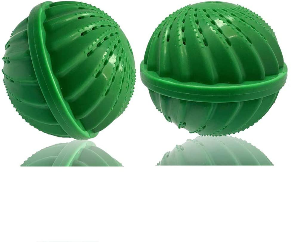 BERON Pack of 2 Laundry Balls Wash Balls for 1500 Washings Laundry Detergent Alternative(Green)