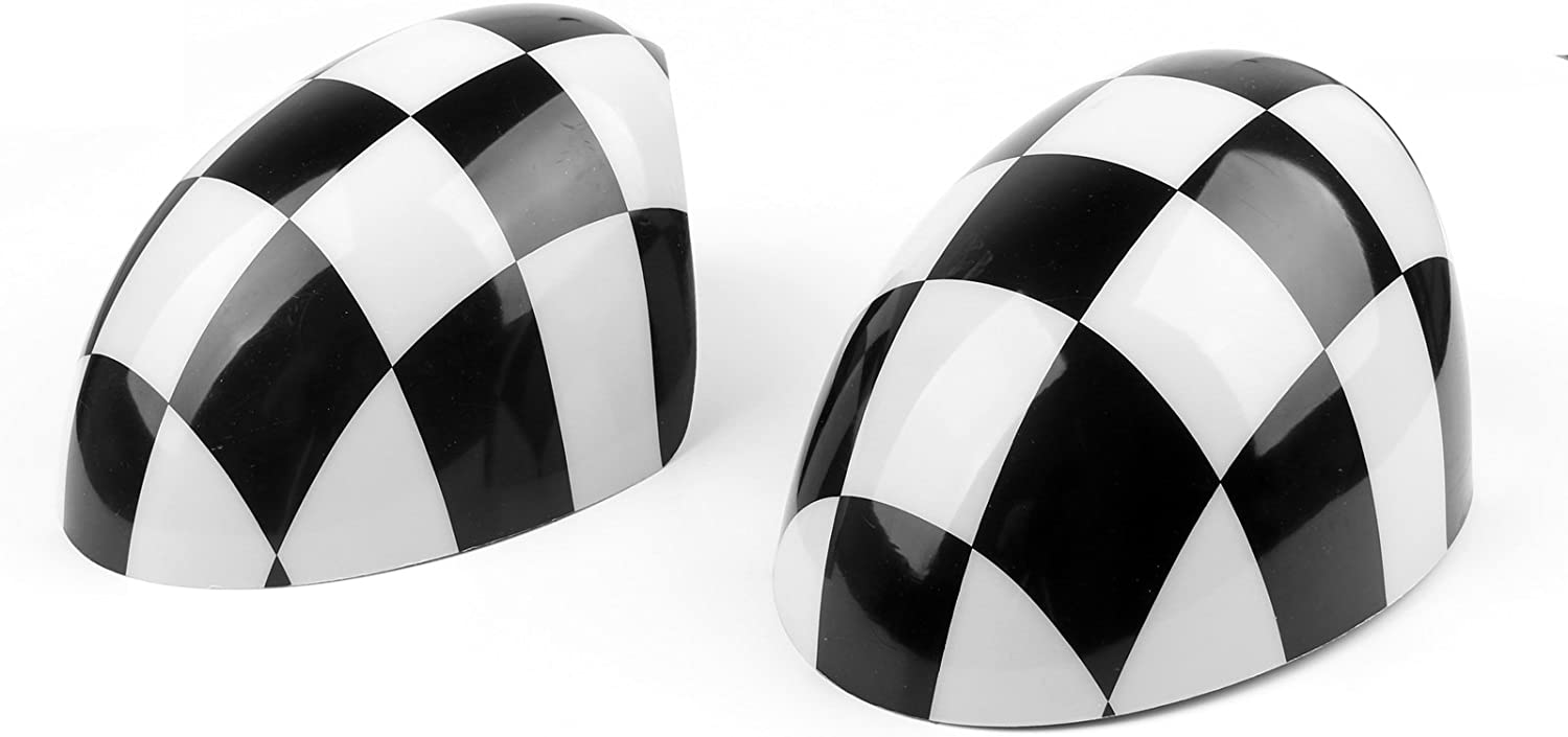 Frezon 2 x Checkered WING Mirror Covers Fit for MINI Cooper R55 R56 R57 Power 𝑭𝒐𝒍𝒅 Mirror