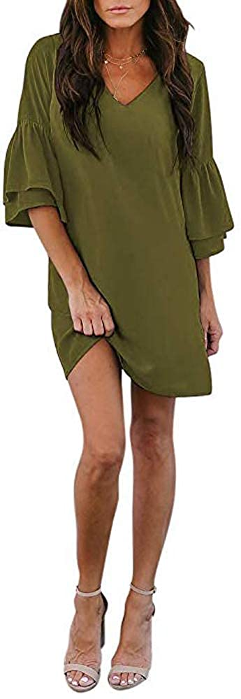 SVALIY Women's Chiffon V Neck Bell Sleeve Casual Loose Shift Party Mini Short Dresses (Green, XL)