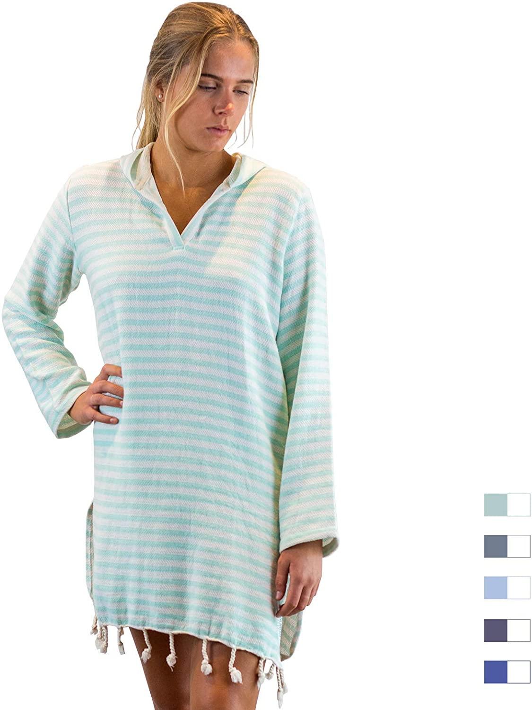SAMMIMIS Women Cover Up Hooded Towel, 100% Turkish Cotton, Soft & Lightweight
