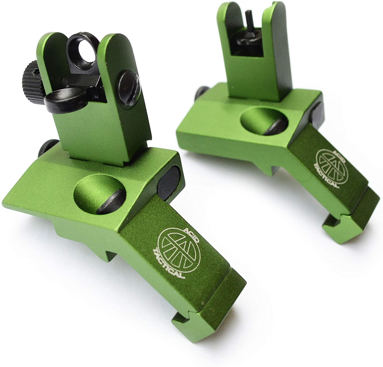 Acid Tactical Rifle 45 Degree Angled Back up Iron Sights BUIS Duel Aperture Anodized Green