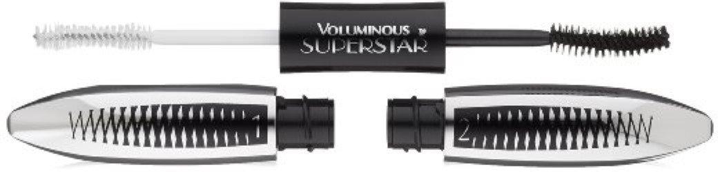 L'Oreal Paris Cosmetics Voluminous Superstar Washable Mascara, Blackest Black [621] 0.41 oz (Pack of 3)