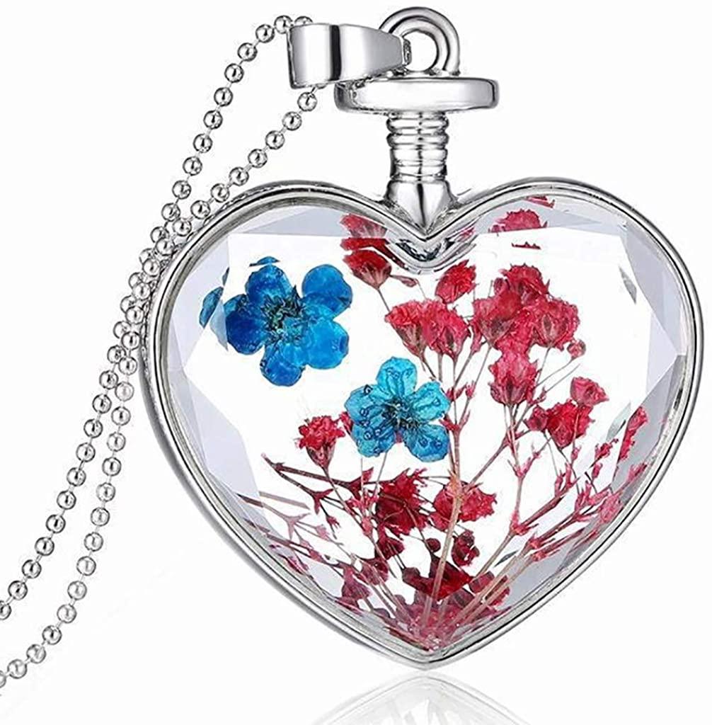 Lelili Dry Flower Heart Glass Wishing Bottle Pendant Necklace Mother's Day Jewelry