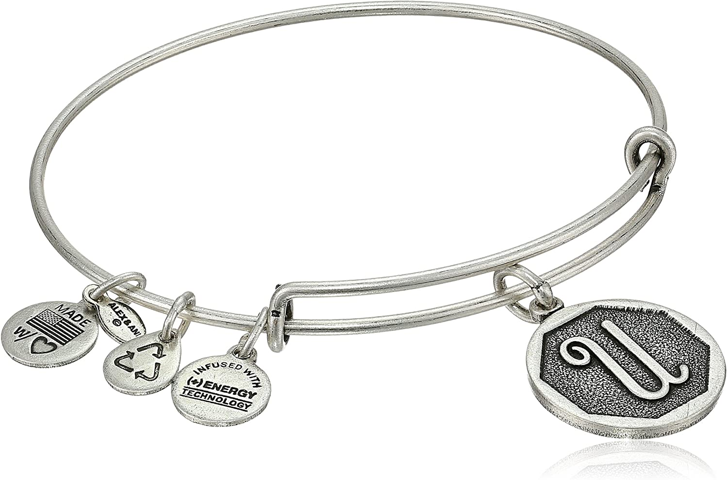 Alex and Ani Initial Expandable Wire Bangle Bracelet, 2.5