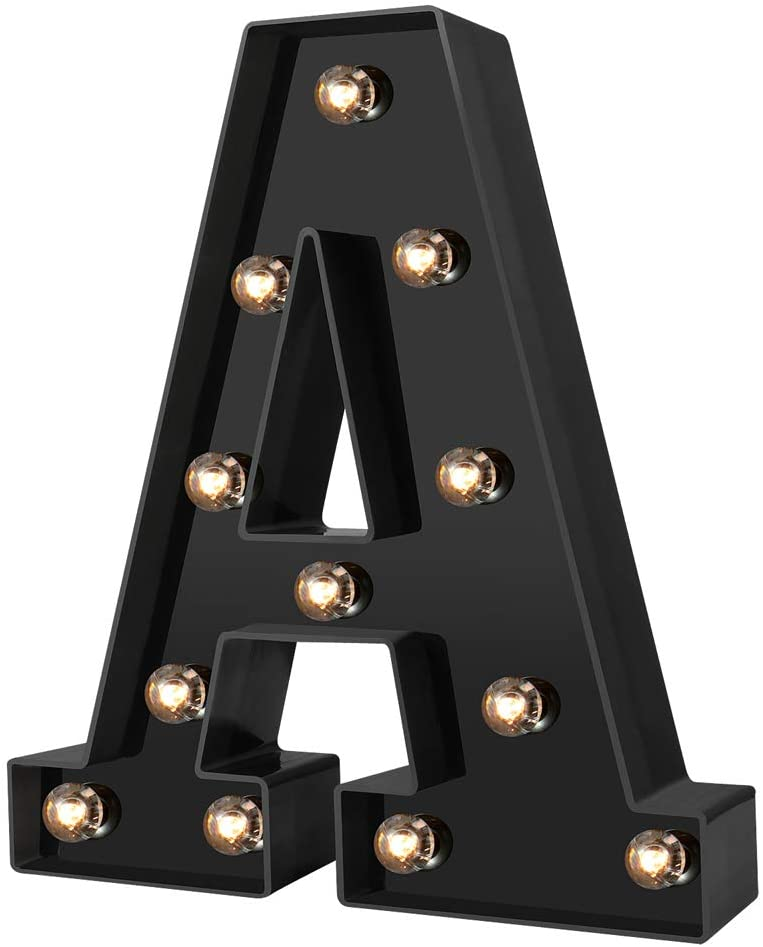 Led Marquee Letter Lights Newly Design Light up Letters for Events Wedding Party Birthday Home Bar DIY Decoration (Cool Black A)