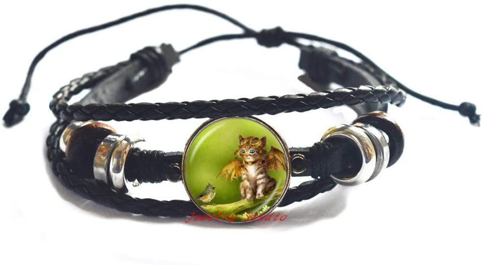Cute Fairy Cat Photo Bracelet Angel Wing Cat Bangle Jewelry Animal Sweater Bracelet Glass Dome Jewellery-HZ0313