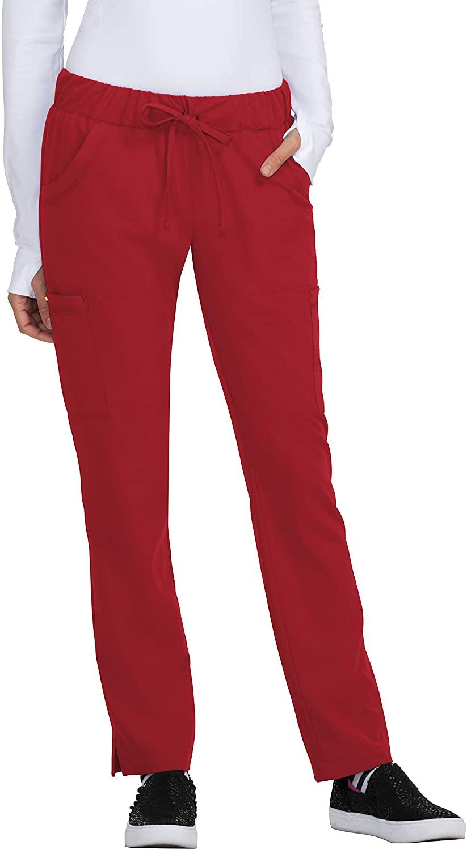 KOI Betsey Johnson 6-Pocket Contemporary Fit Buttercup Scrub Pants for Women (Ruby, Medium Petite)