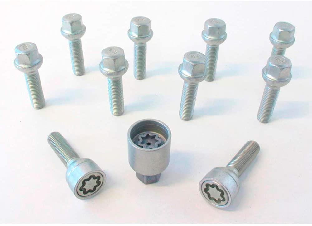 H&R 1256002SET Bolt Set Round-Head R12 M12x1.50-Length 60mm-10 pcs. (e.g. Mercedes) -incl. Wheel-Locks