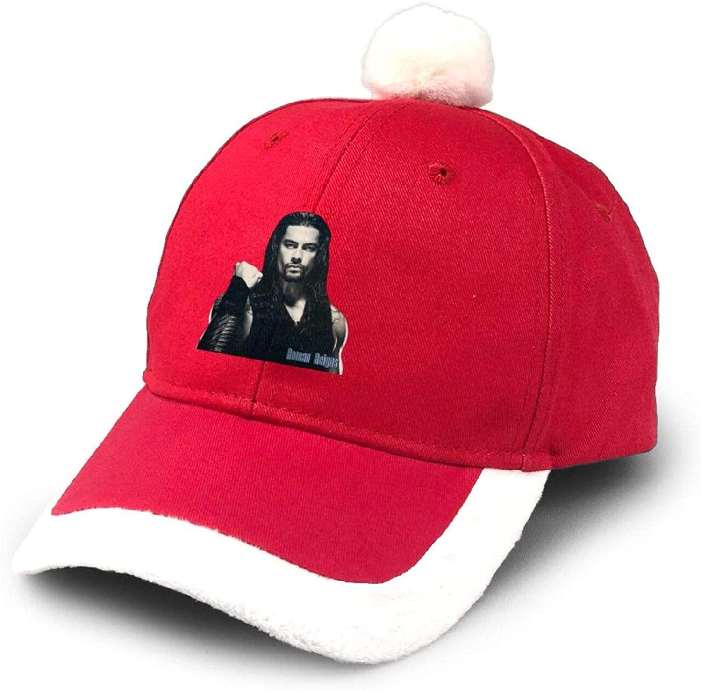 KURITIAN Roman Reigns Supplies Christmas Hats Children Adult Dress Up Thick Dense Velvet Non-Woven Santa Hats Red