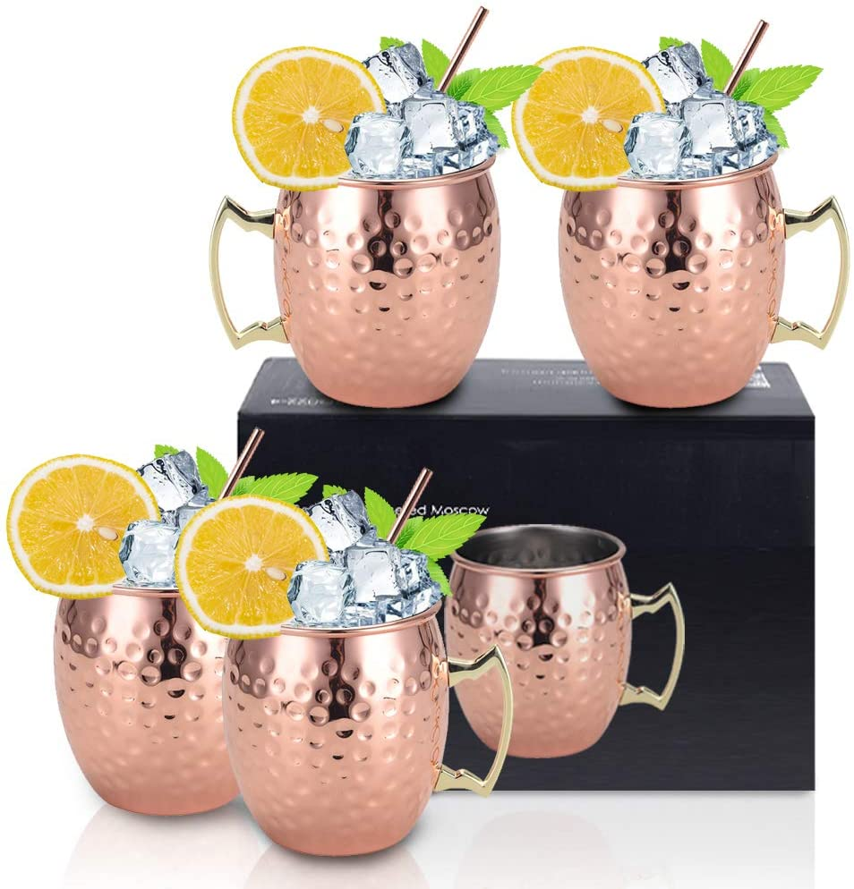 Moscow Mule Copper Mugs - Gift Set of 4, Solid Handcrafted Copper Cups - 16 oz Copper Mug Cups with 4 Cocktail Copper Straws