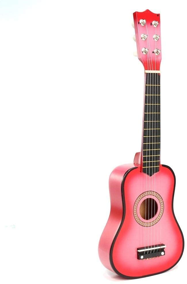 Teerwere Guitar Kit Portable 21 Inch 6 Strings Wooden Acoustic Hawaii Guitar Ukulele Uke Musical Instrument Toys for Children Gift 3 Colors Available Acoustic Guitar (Color : Pink, Size : 21inch)