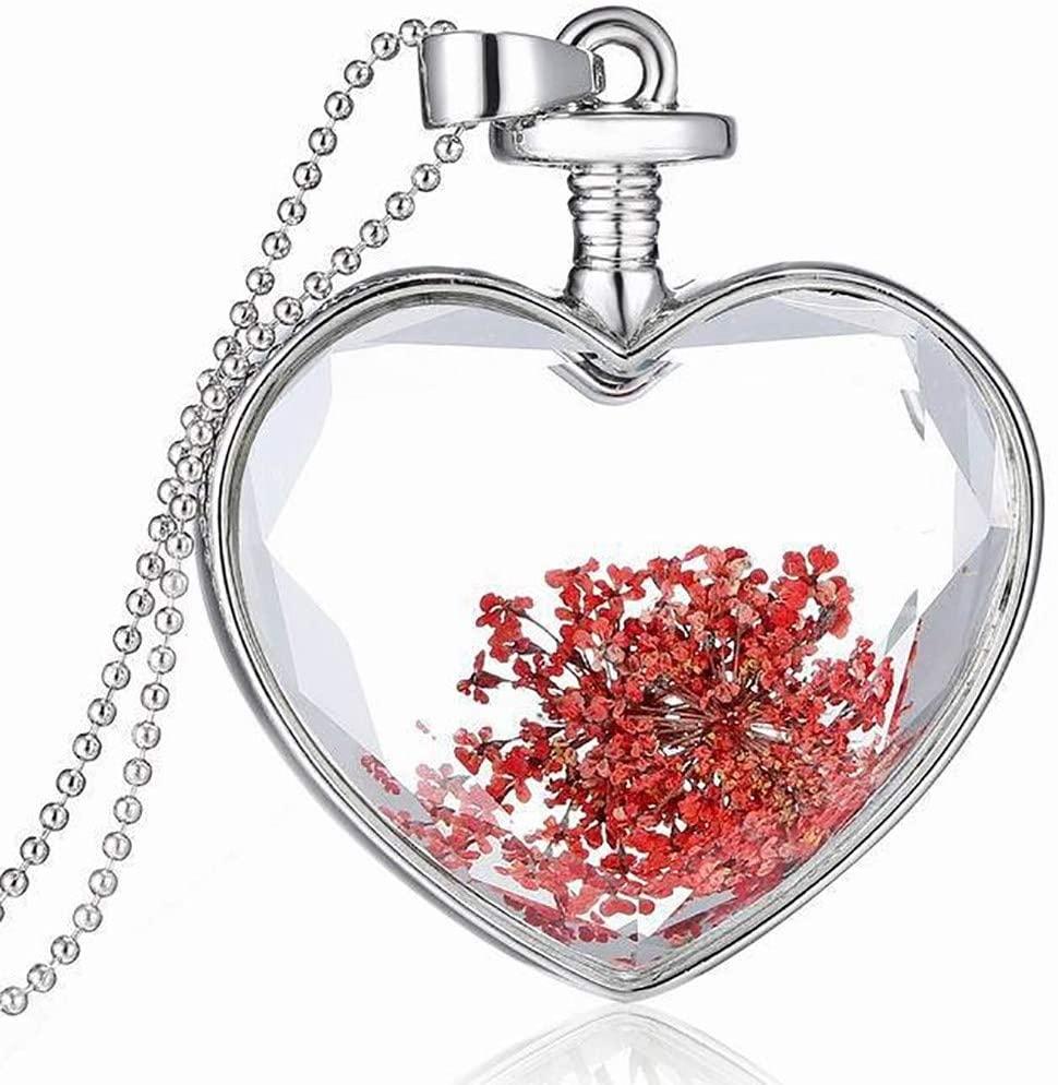 Heart Lockets Necklace Pendant Wishing Bottle Pendant Dry Flower Glass Chains Necklace Pendant Enhancers Pendant for Women Girls Birthday Gifts (A)