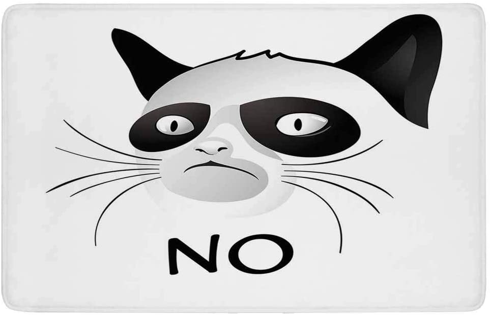 Animal Decor Area Rug,Cat Face Portrait Says No Grumpy Social Character Kitty Domestic Artful Image,for Living Room Bedroom Dining Room,7'x 5',Black White