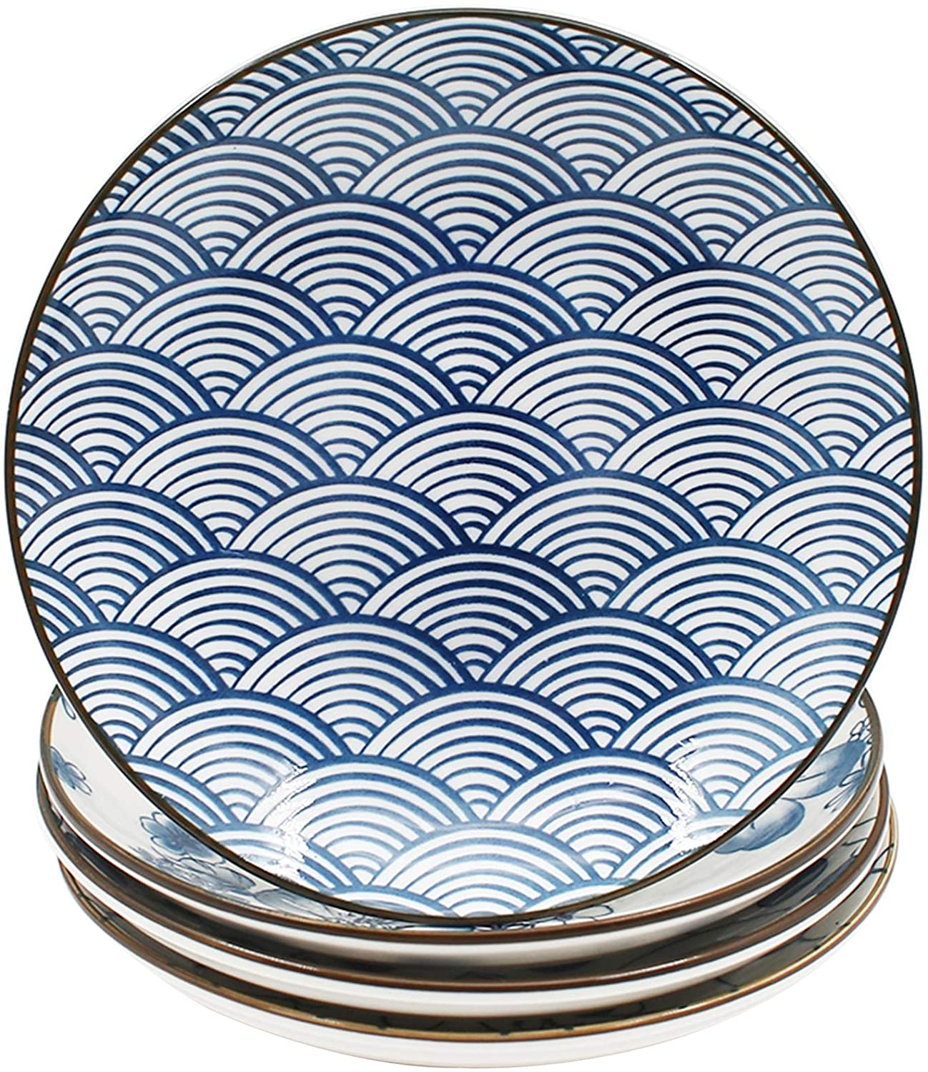 YALONG Ceramic Dinner Plate Set 7 Inch Appetizer Shallow Plates for Lunches, Cheese and Crackers Salad, Dessert Set of 4 Assorted Motifs