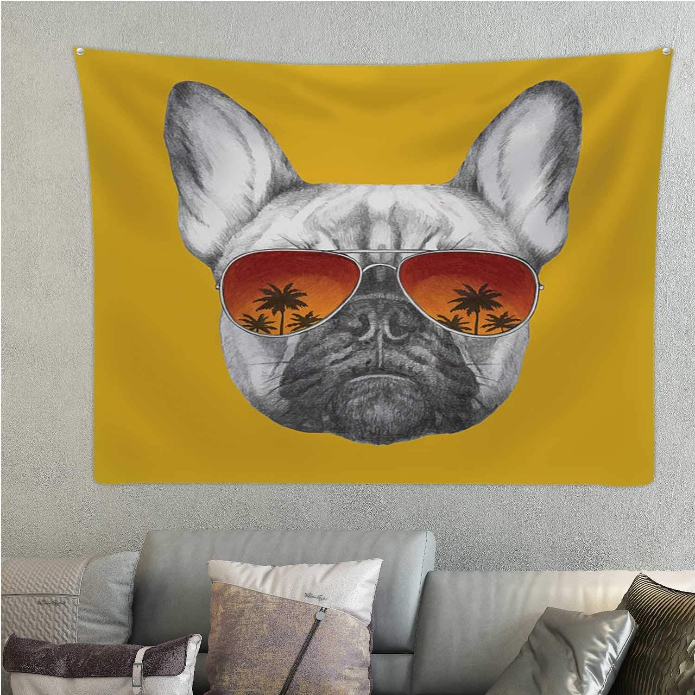 C COABALLA Hand Drawn Portrait of French Bulldog with Mirror Sunglasses.- - Dog,tapastry's Wall Hanging Sunglasses Room Decorations 59.1'' x 51.1''(WxH)