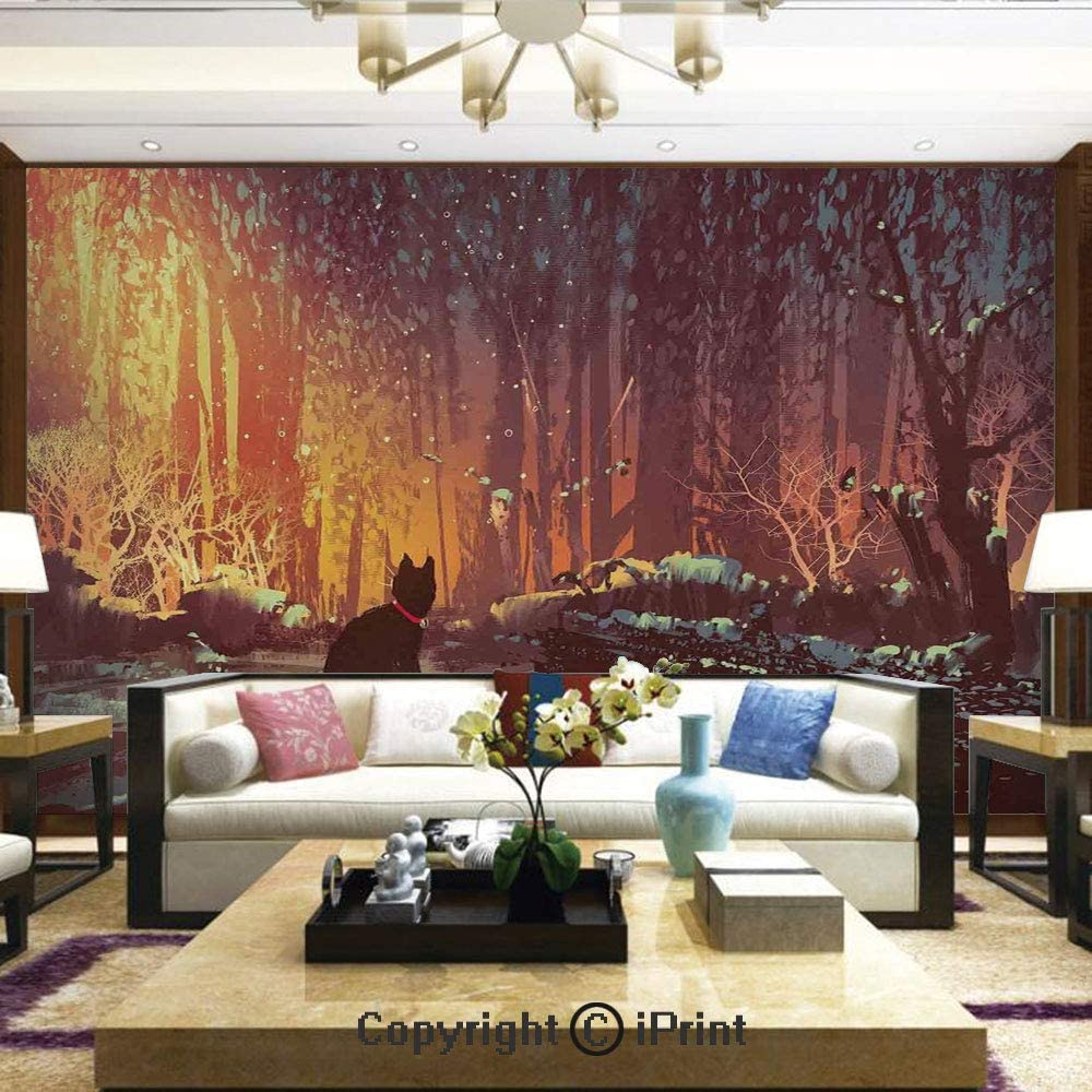 Lionpapa_mural Self-Adhesive Large Wallpaper Better Designs for Living Room,Surreal Lost Black Cat Deep Dark in Forest with Mystic Lights Picture,Home Decor - 100x144 inches