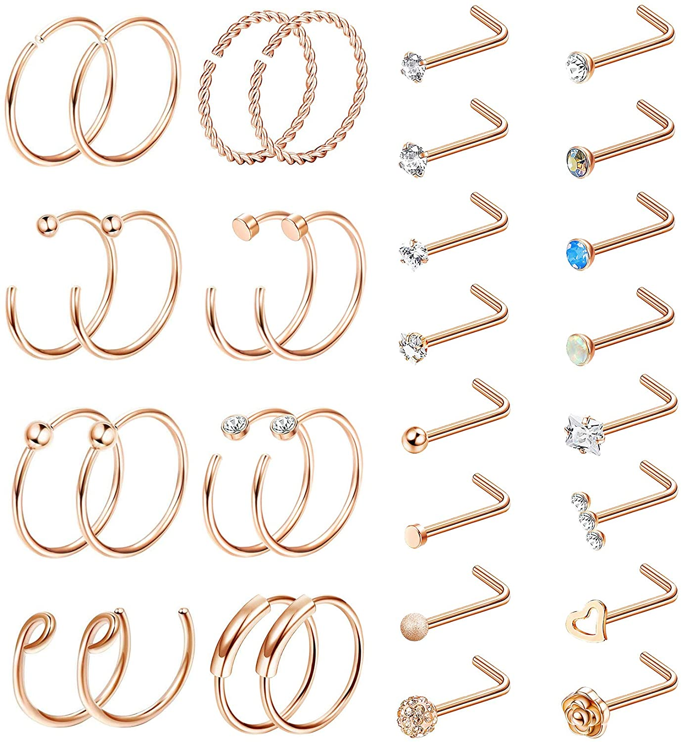 Subiceto 20G Stainless Steel Nose Rings Bone L Screw Shape Nose Studs for Women Men CZ Flower Tragus Cartilage Labret Hoops Body Piercings 32 Pieces