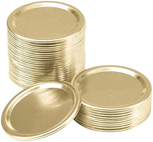 50 Pack Split-Type Lids Reusable with Silicone Seals Rings Regular Mouth Mason Jar Split-Type Lids,Gold(Not Include Band)