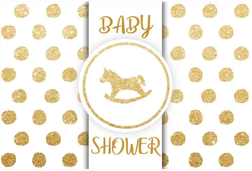 Leyiyi Golden Baby Shower Party Backdrop 7x5ft Customized Photography Backdrop Circle Horse Golden Sparkling Dots White Background Newborn Infant Portraits Props Birthday Party Backdrop