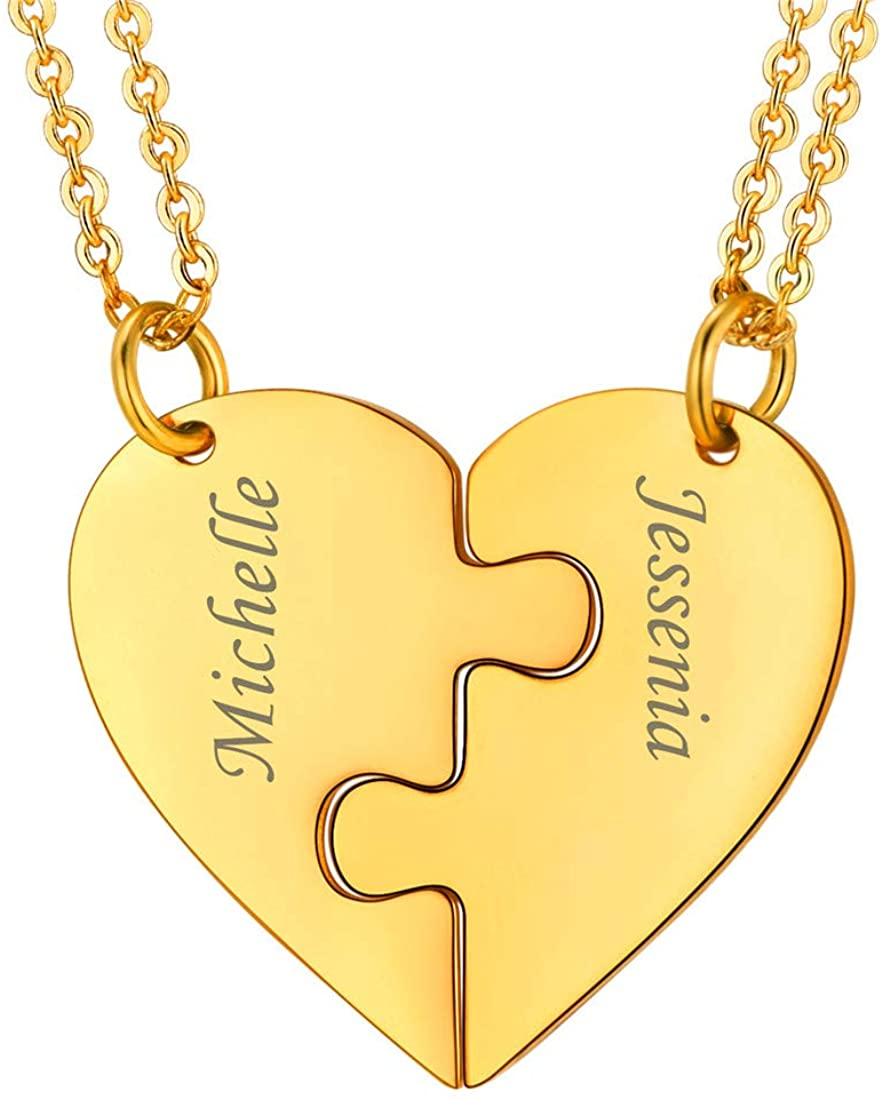 BFF Necklace for 2/3/4/5/6 Stainless Steel Chain Personalized Family Love/Friendship Jewelry Set Free Engraving Heart Pendants