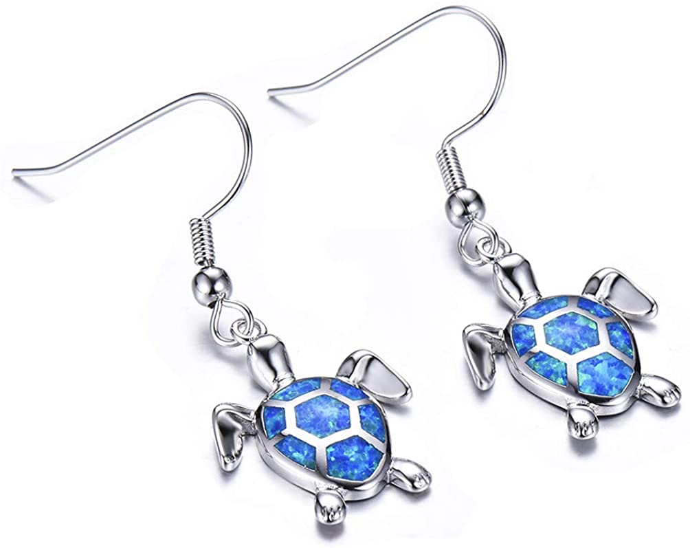 Vanessa Blue Opal Sea Turtle Earrings Birthstone Jewelry Birthday Stud Earrings Gifts for Her