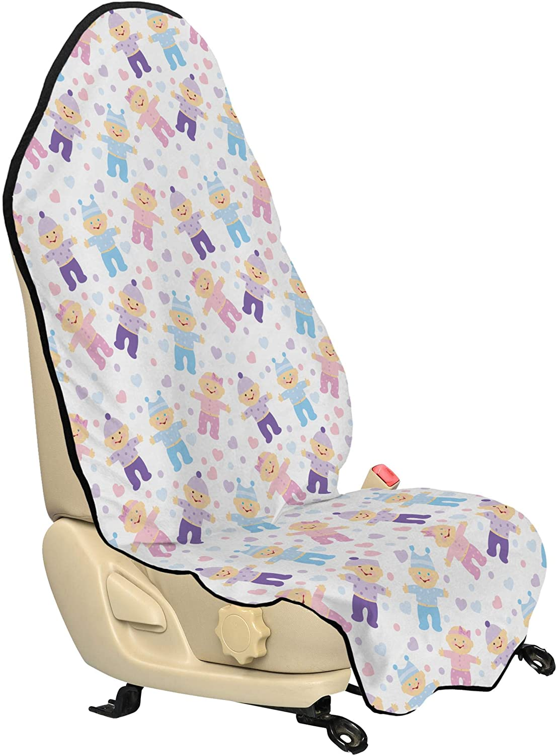 Lunarable Baby Shower Car Seat Hoodie, Hearts and Colorful Dots Background with Newborn Babies Cartoon Characters, Car Seat Cover Protector Non Slip Backing Universal Fit, 30