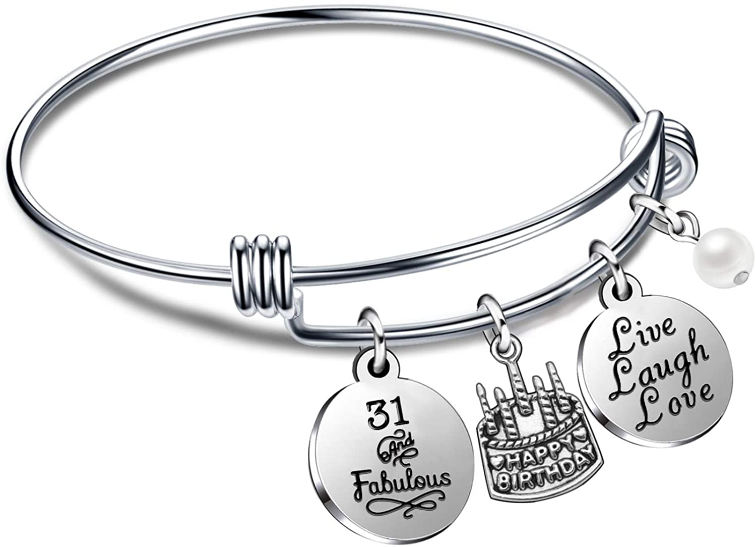lauhonmin Birthday Gifts for Her Bangle Bracelets Live Laugh Love for 10th to 70th
