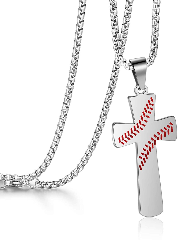 WMISIY 16-24 inch Baseball Cross Necklace for Boys Men Chain Stainless Steel Baseball Pendant Silver Gold Black