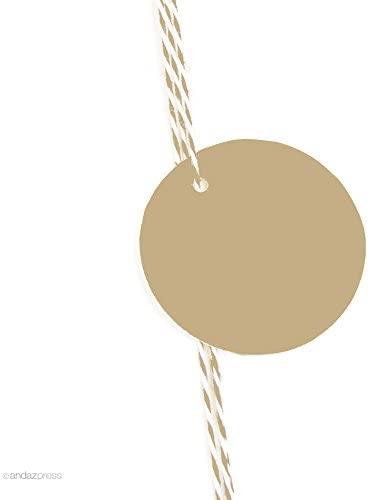 Andaz Press Blank Circle Gift Tags, Tan Brown, 24-Pack