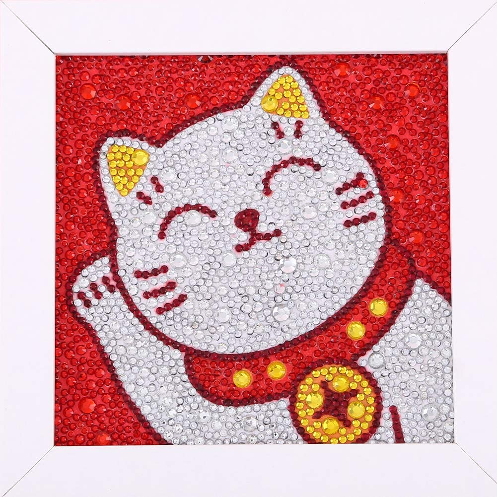 Maydear Small and Easy DIY 5d Diamond Painting Kits with Frame for Beginner with White Frame for Kids (Lucky cat)