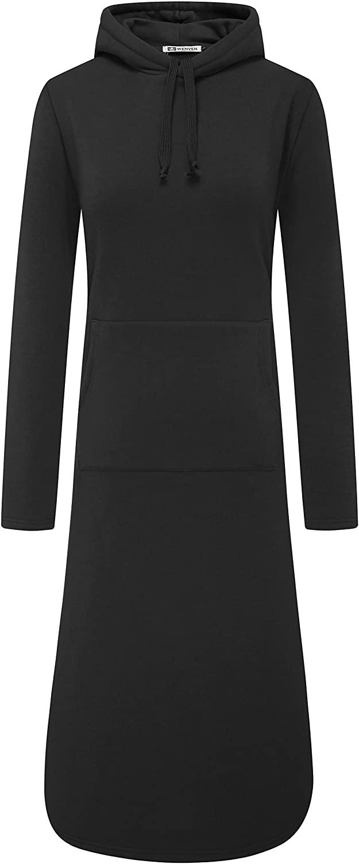 WenVen Womens Plus-Size Long Sleeve Pullover Fleece Hoodie Sweatshirt Dress