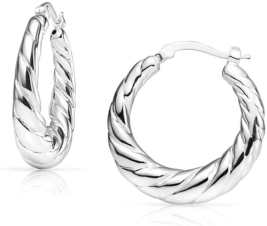 SolidSilver - Sterling Silver High Polished Twisted Shrimp Design Click-Top Hoop Earrings