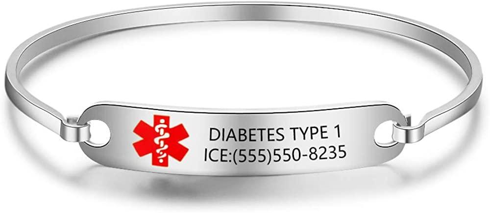 Ashleymade Personalized Bracelet Free Engraving Medical Alert ID Bangle Bracelets for Men Stainless Steel Emergency ID Bracelet Engraved Bracelets for Women