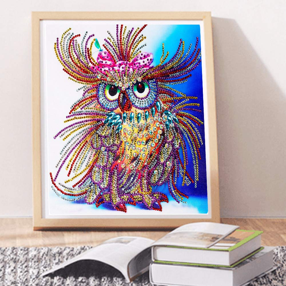 NIHAI DIY 5D Diamond Painting Kit for Kids, Color Owl Special Shaped Diamond Painting Rhinestone Cross Stitch Embroidery Arts Craft Canvas for Home Wall Decor Contain Tools