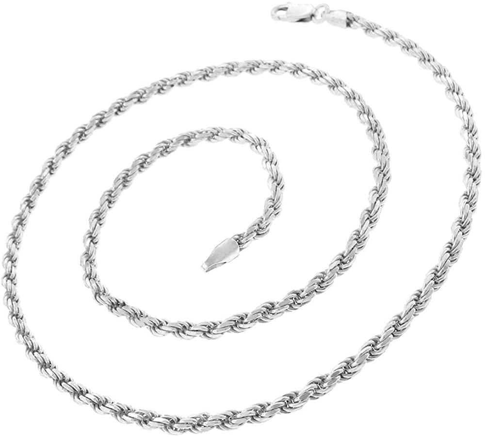 925 Italian Sterling Silver 1mm - 5.5mm Solid Rope Diamond Cut Chain, FREE Microfiber Cloth, ITProLux Link Necklace & Bracelet, Giorgio Bergamo