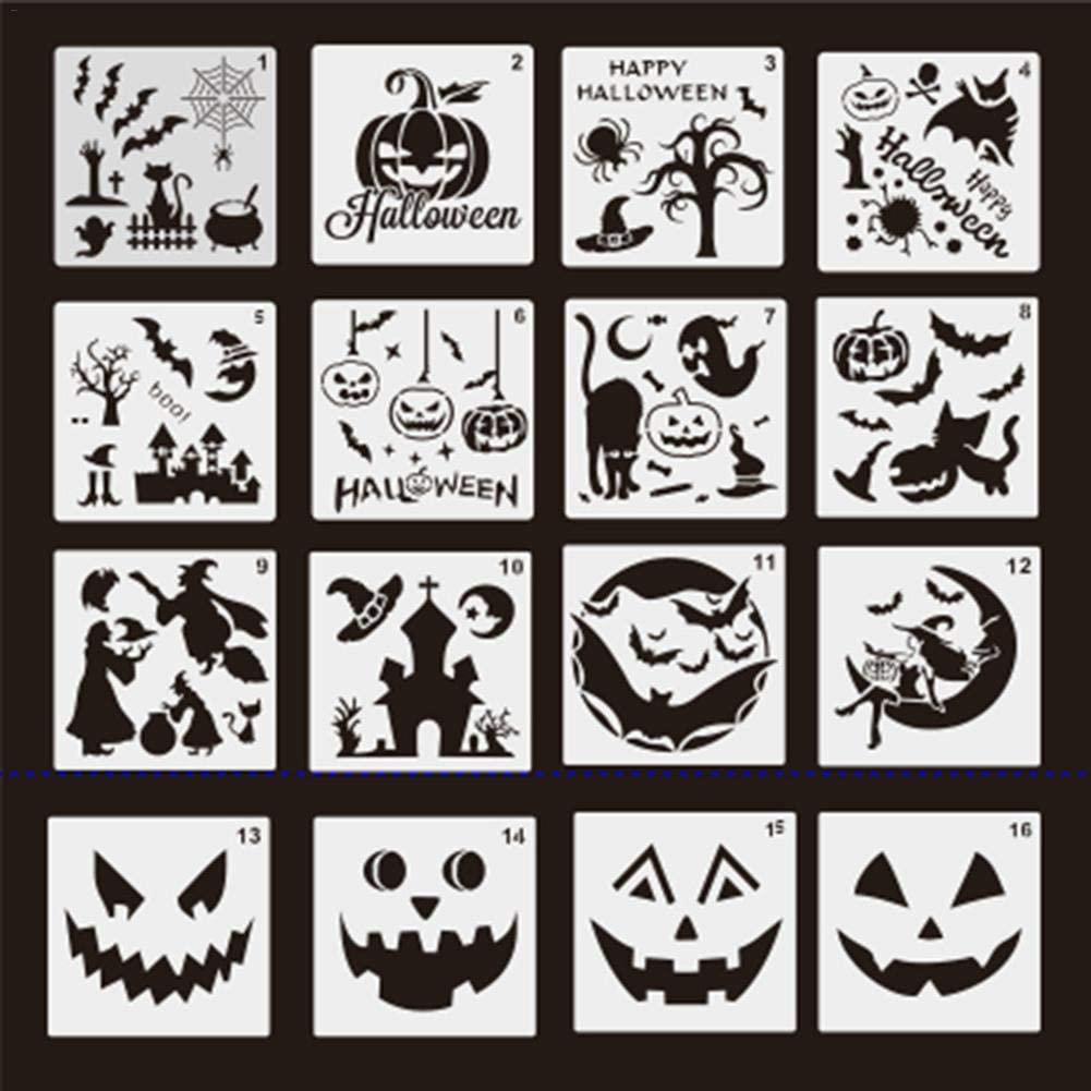 ANG Halloween Decor Stencils Template, DIY Decorative Pumpkins Design Mould Set Reusable Plastic Craft Old Castle, Pumpkin, Star,Skeleton,Witch,Bat,Ghost,Art Drawing Painting Spraying