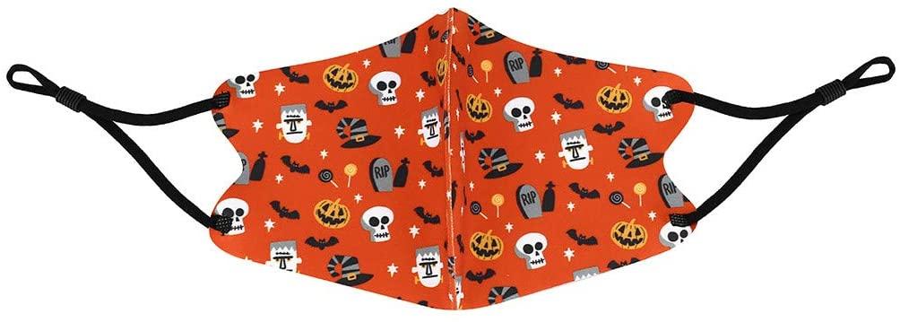 Kids Silk Face bandana Halloween - Effective Filter with Elastic Earloops Amazing Pumpkin Pattern - for Kids Breathable Halloween Outdoor(Pumpkin & Skull)
