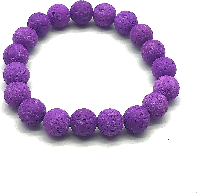 Purple Lava Beaded Bracelet, Stretch Bracelet, Womens Jewelry, Boho Jewelry, Natural Stone, Yoga Bracelet.