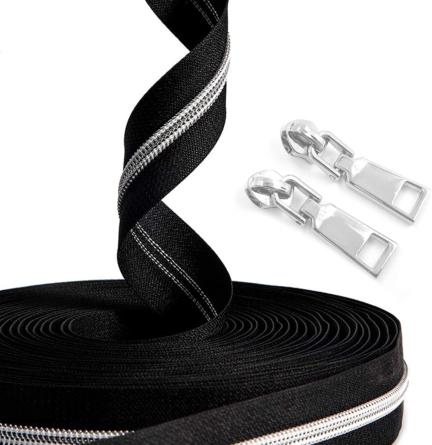 SBest Nylon Zippers #5 10 Yards Sewing Zippers Bulk DIY Zipper by The Yard Bulk with 20PCS Slider-Long Zippers for Tailor Sewing Crafts Bag (Silver Teeth Black Tape)