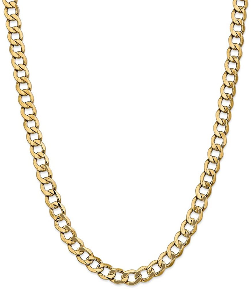 14k Yellow Gold 8mm Curb Cuban Link Chain Necklace 20 Inch Pendant Charm Fine Jewelry For Women Gift Set
